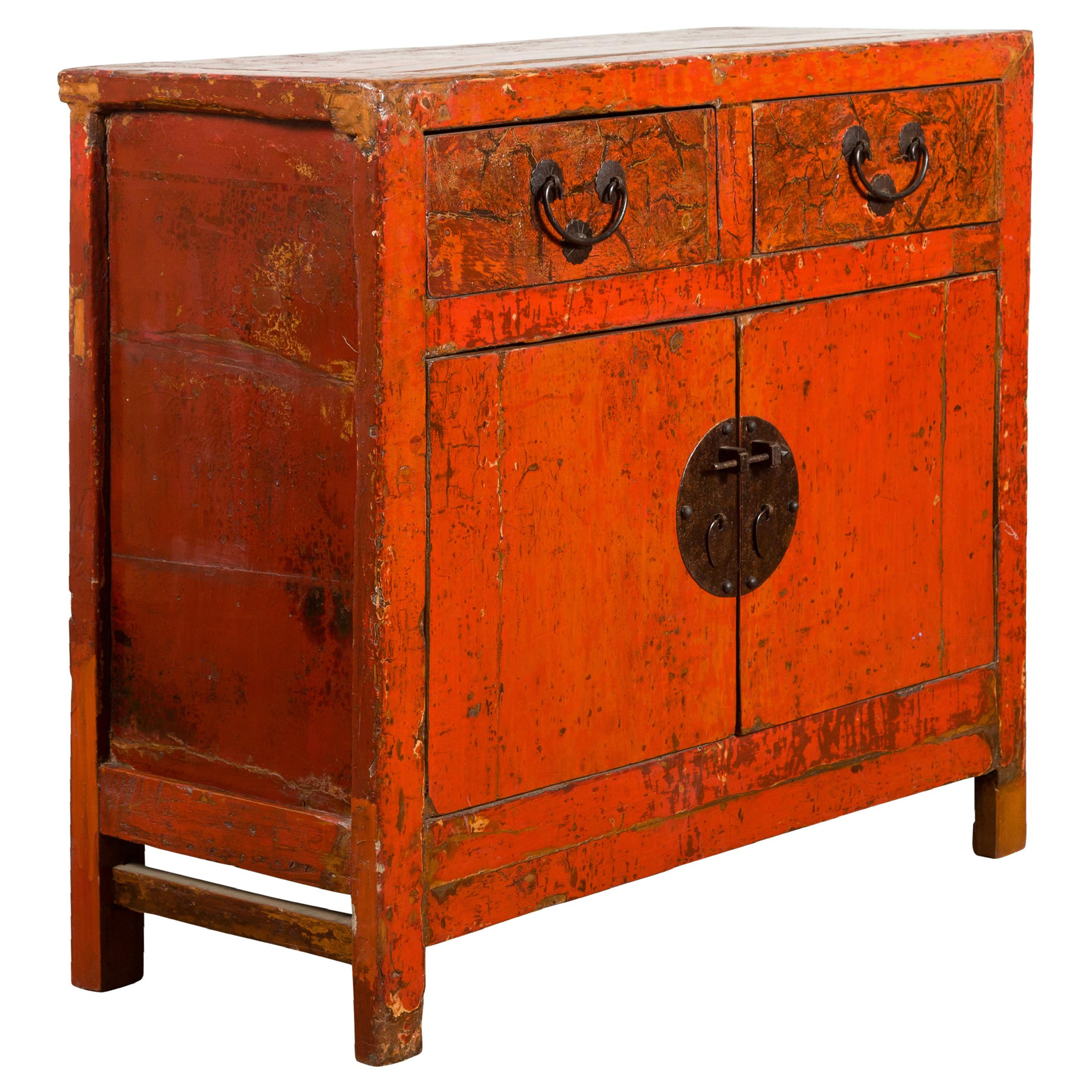Chinese Qing Dynasty Period 19th Century Red Lacquered Small Cabinet