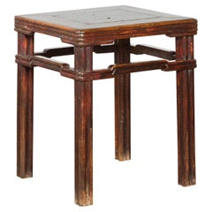 Chinese Qing Dynasty Period 19th Century Side Table with Humpback Stretchers