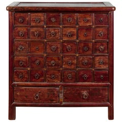 Chinese Qing Dynasty Period Apothecary Chest with 32 Drawers and Aged Patina