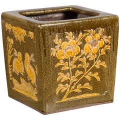 Chinese Qing Dynasty Period Brown Square Planter with Rabbits, Flowers and Birds
