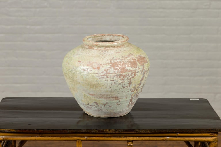 Glazed Chinese Qing Dynasty Period Exterior Vase with Distressed Yellow Green Glaze