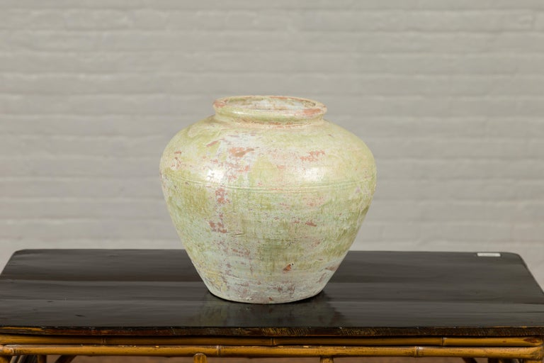 Ceramic Chinese Qing Dynasty Period Exterior Vase with Distressed Yellow Green Glaze