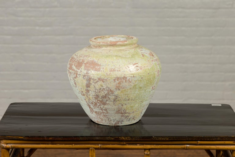 Chinese Qing Dynasty Period Exterior Vase with Distressed Yellow Green Glaze 1