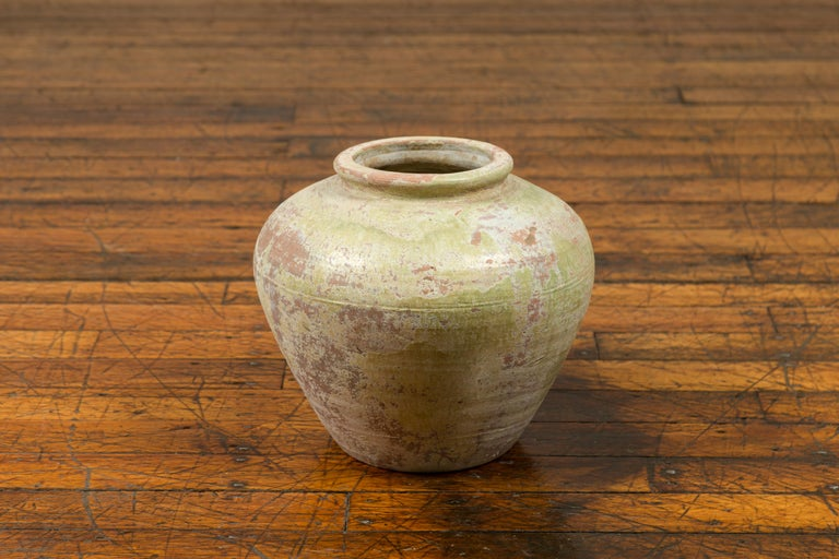 Chinese Qing Dynasty Period Exterior Vase with Distressed Yellow Green Glaze 2
