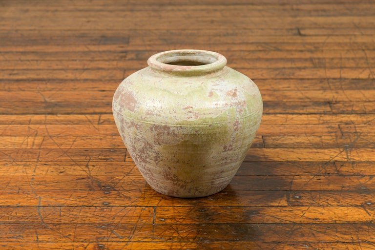 Chinese Qing Dynasty Period Exterior Vase with Distressed Yellow Green Glaze 3