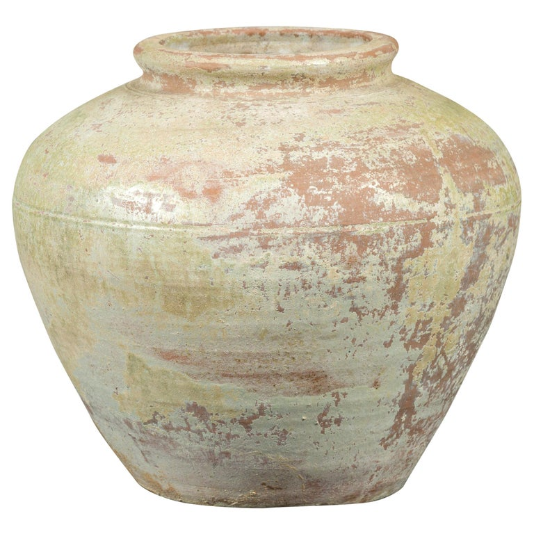 Chinese Qing Dynasty Period Exterior Vase with Distressed Yellow Green Glaze