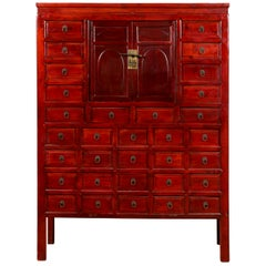 Chinese Qing Dynasty Period Red Lacquered Apothecary Cabinet with 32 Drawers