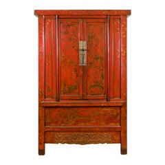 Chinese Qing Dynasty Period Red Lacquered Cabinet with Gilt Chinoiserie Décor