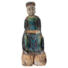Chinese Qing Dynasty Polychrome Hand-Carved Wooden Sage Statue, c. 1800