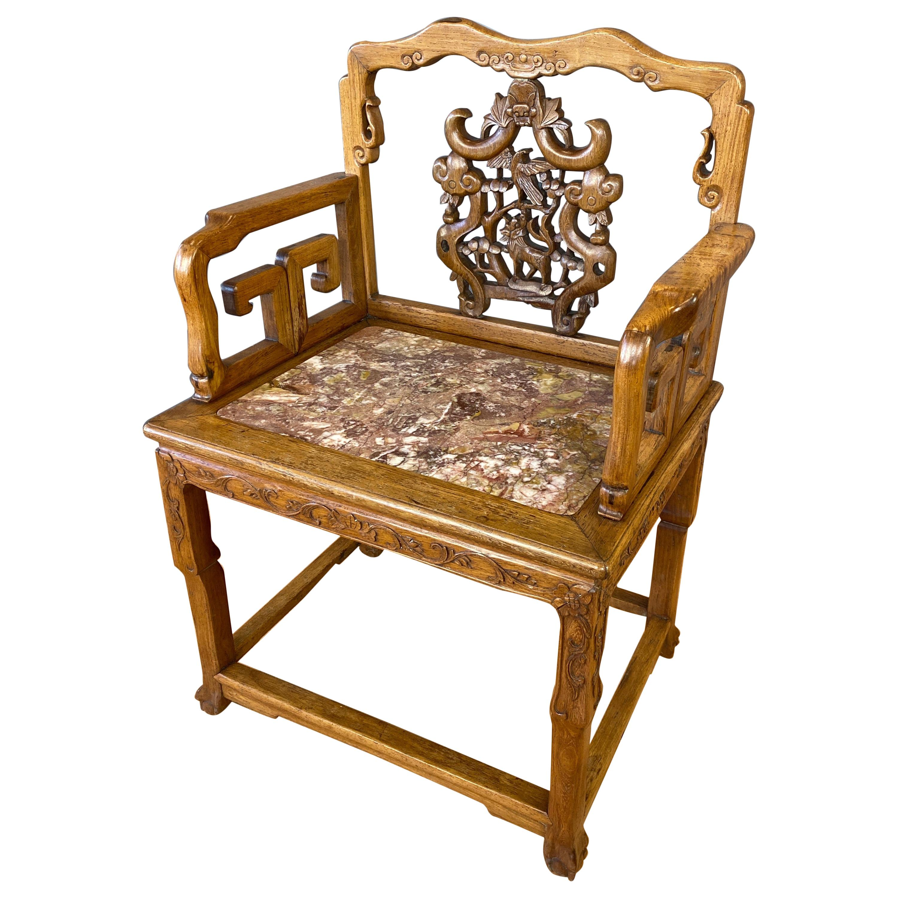 Chinese Qing Dynasty Rosewood and Marble Armchair, 19th Century