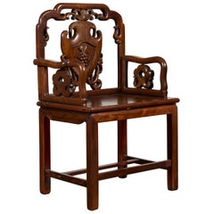 Chinese Qing Dynasty Rosewood Armchair with Carved Splat and Arm Supports