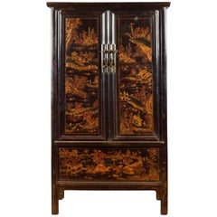 Chinese Qing Dynasty Shanxi Black Lacquer Cabinet with Golden Chinoiserie Décor