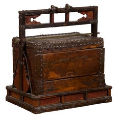Chinese Qing Dynasty Tiered Wedding Box with Nailheads and Dark Patina