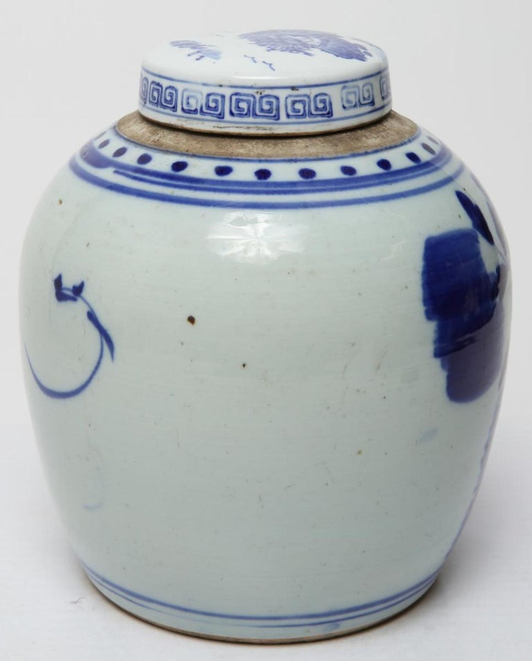 Chinese Qing Dynasty Underglaze Porcelain Ginger Jar In Good Condition For Sale In New York, NY