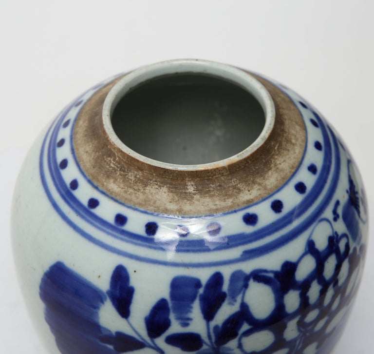 Chinese Qing Dynasty Underglaze Porcelain Ginger Jar For Sale 1