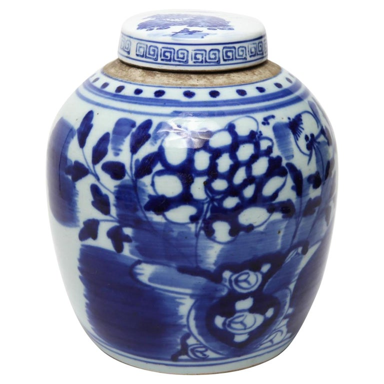 Chinese Qing Dynasty Underglaze Porcelain Ginger Jar For Sale