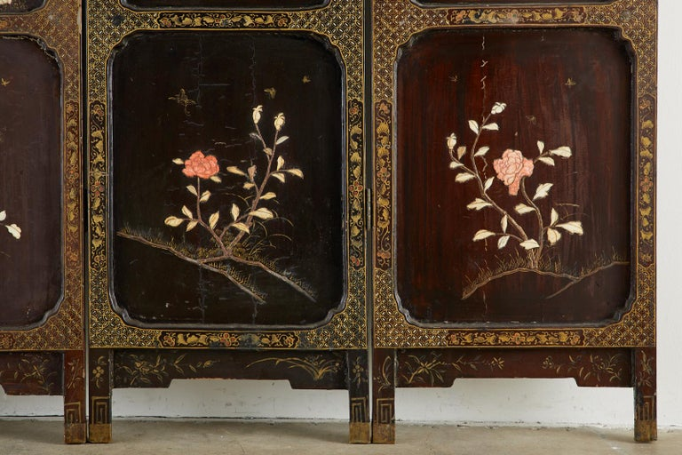 Chinese Qing Four Panel Carved Soapstone Coromandel Screen For Sale 3