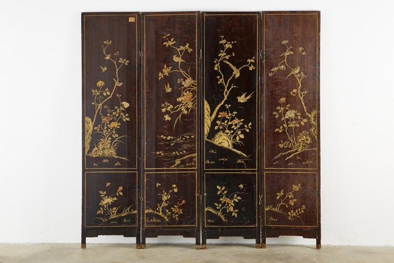 Chinese Qing Four Panel Carved Soapstone Coromandel Screen For Sale 12