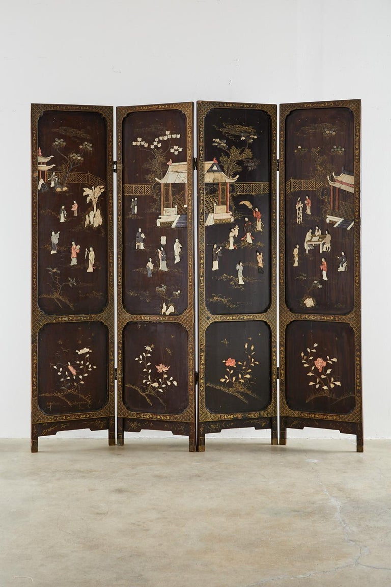 Chinese Export Chinese Qing Four Panel Carved Soapstone Coromandel Screen For Sale