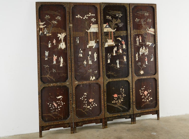 Gilt Chinese Qing Four Panel Carved Soapstone Coromandel Screen For Sale