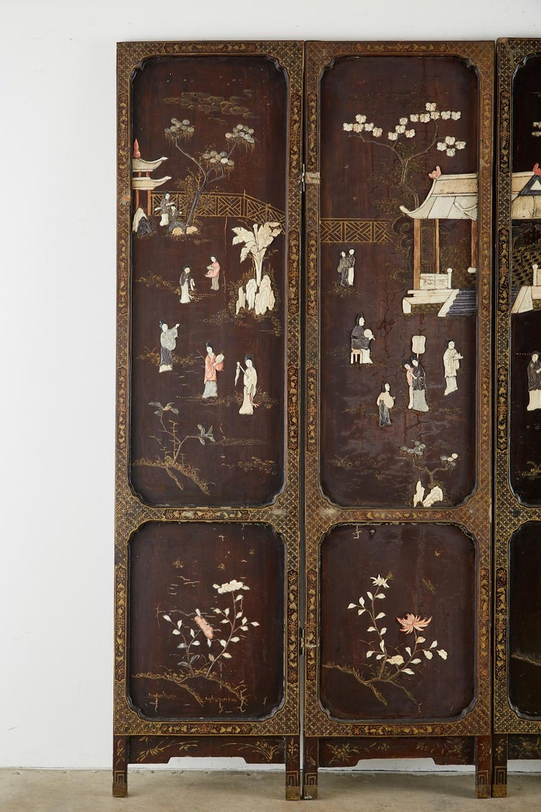 Chinese Qing Four Panel Carved Soapstone Coromandel Screen In Distressed Condition For Sale In Rio Vista, CA