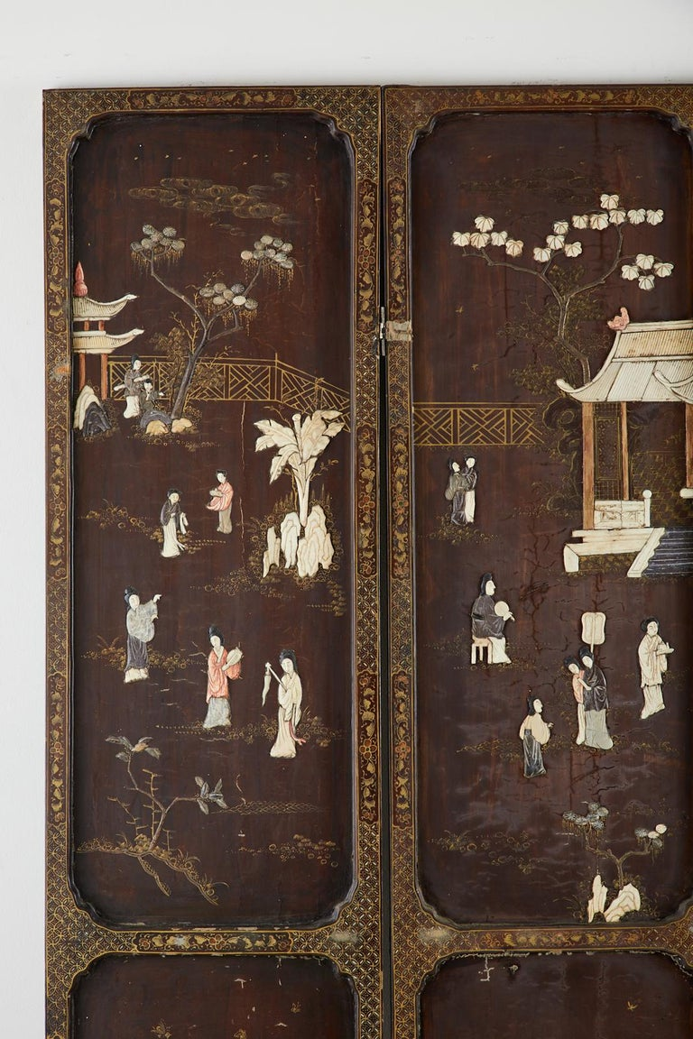 Bone Chinese Qing Four Panel Carved Soapstone Coromandel Screen For Sale