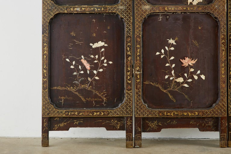 Chinese Qing Four Panel Carved Soapstone Coromandel Screen For Sale 1