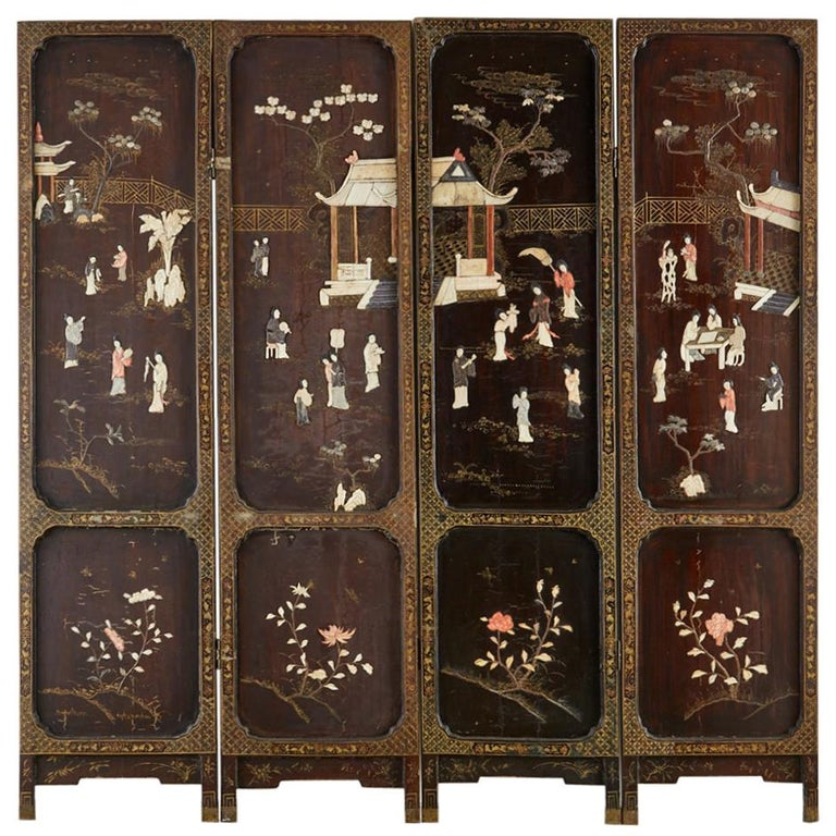 Chinese Qing Four Panel Carved Soapstone Coromandel Screen For Sale