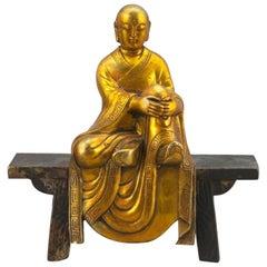 Chinese Qing Gold Gilt Bronze Dalai Lama Sculpture