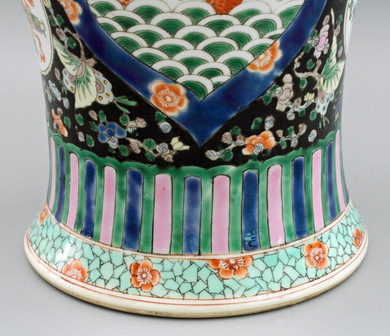 Chinese Qing Guangxu Famille Noire Porcelain Baluster Dragon Vase For Sale 9