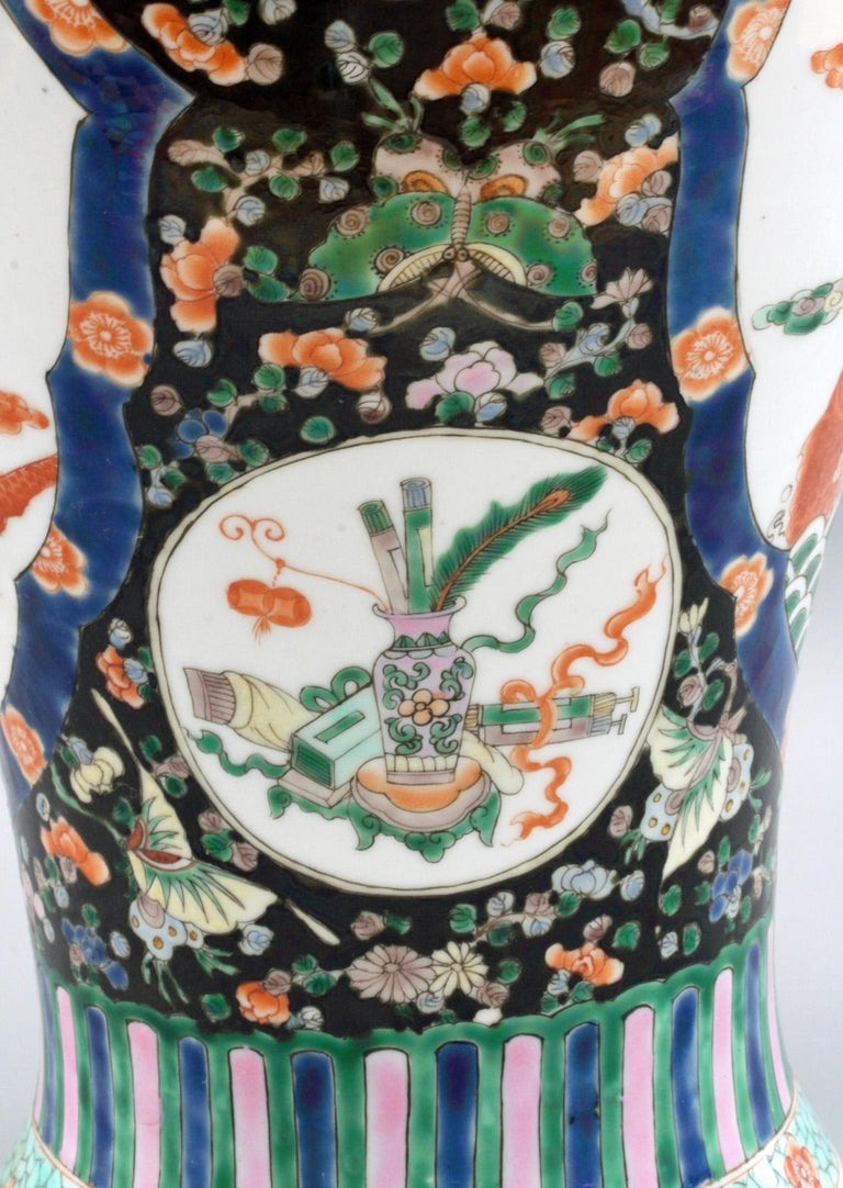 Chinese Qing Guangxu Famille Noire Porcelain Baluster Dragon Vase For Sale 14