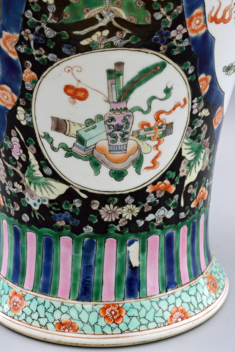 Hand-Painted Chinese Qing Guangxu Famille Noire Porcelain Baluster Dragon Vase For Sale