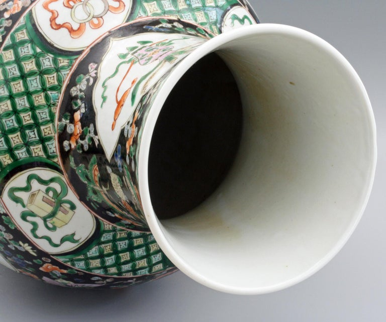 Late 19th Century Chinese Qing Guangxu Famille Noire Porcelain Baluster Dragon Vase For Sale