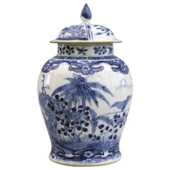 Chinese Qing Kangxi Mark Blue & White Insects & Landscape Porcelain Lidded Jar