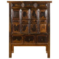 Chinese Qing Mid-19th Century Cabinet with Distressed Patina, Doors and Drawers