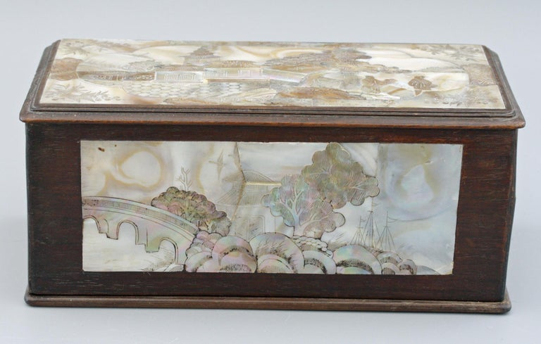 Chinese Qing Mother of Pearl Inset Wooden Glove Box  For Sale 7