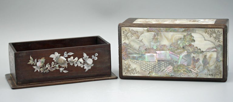 Chinese Qing Mother of Pearl Inset Wooden Glove Box  For Sale 8