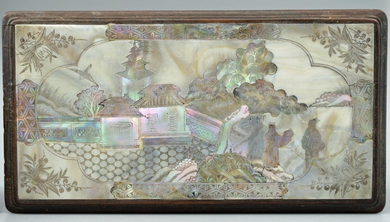 Chinese Qing Mother of Pearl Inset Wooden Glove Box  For Sale 9