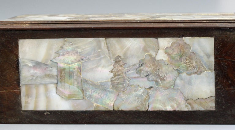 19th Century Chinese Qing Mother of Pearl Inset Wooden Glove Box  For Sale
