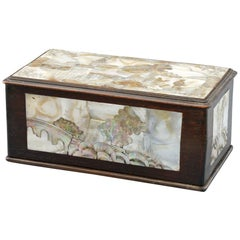 Chinese Qing Mother of Pearl Inset Wooden Glove Box