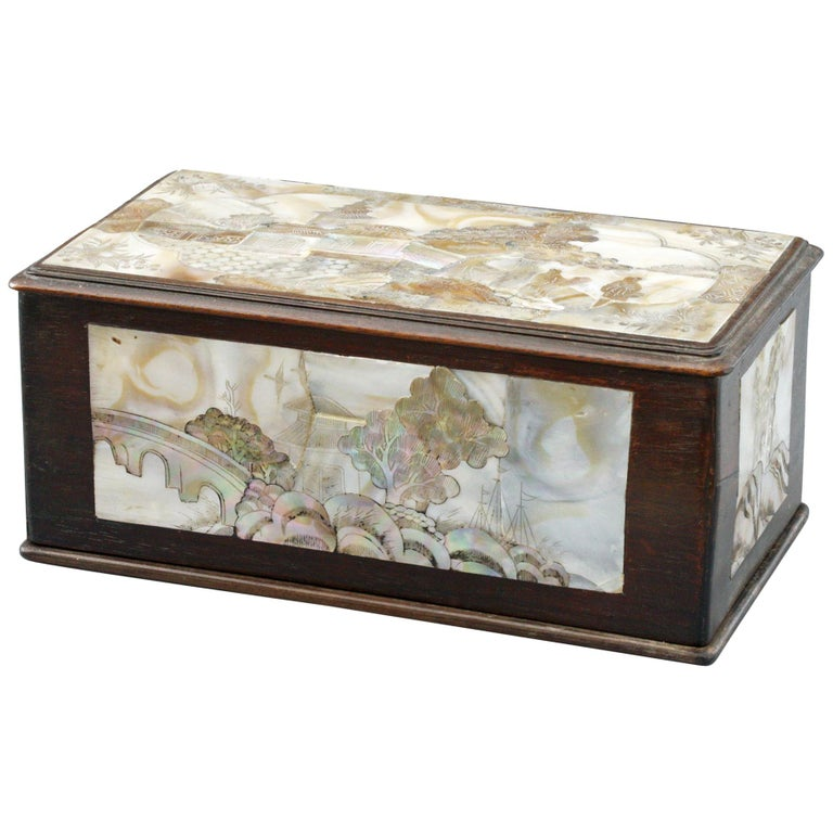 Chinese Qing Mother of Pearl Inset Wooden Glove Box  For Sale