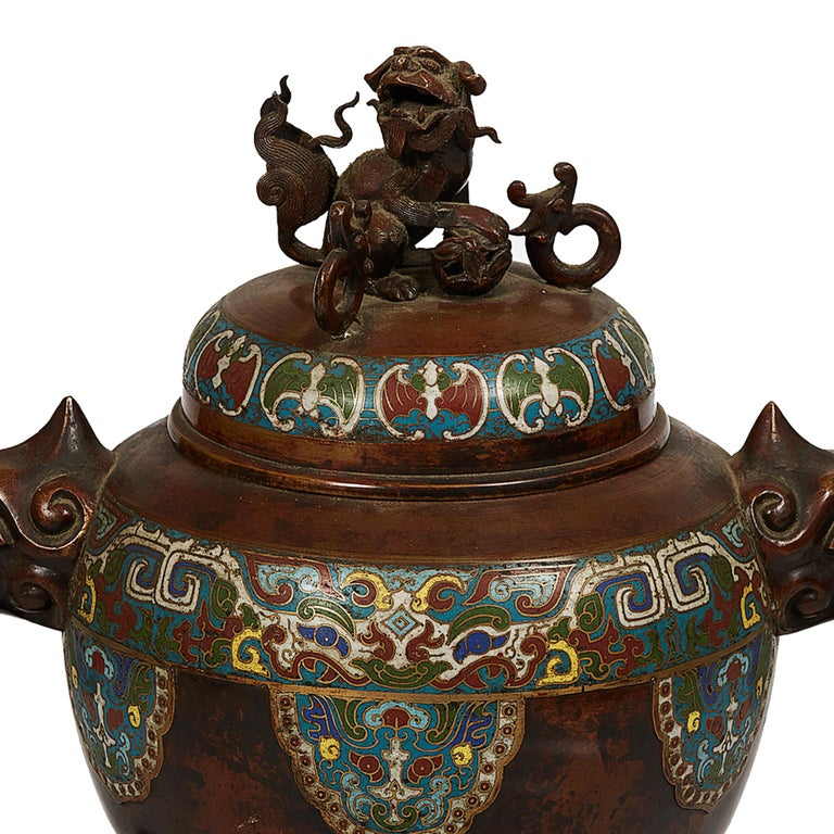 Carved Japanese Meiji Period Bronze and Champlevé Enameled Censer For Sale