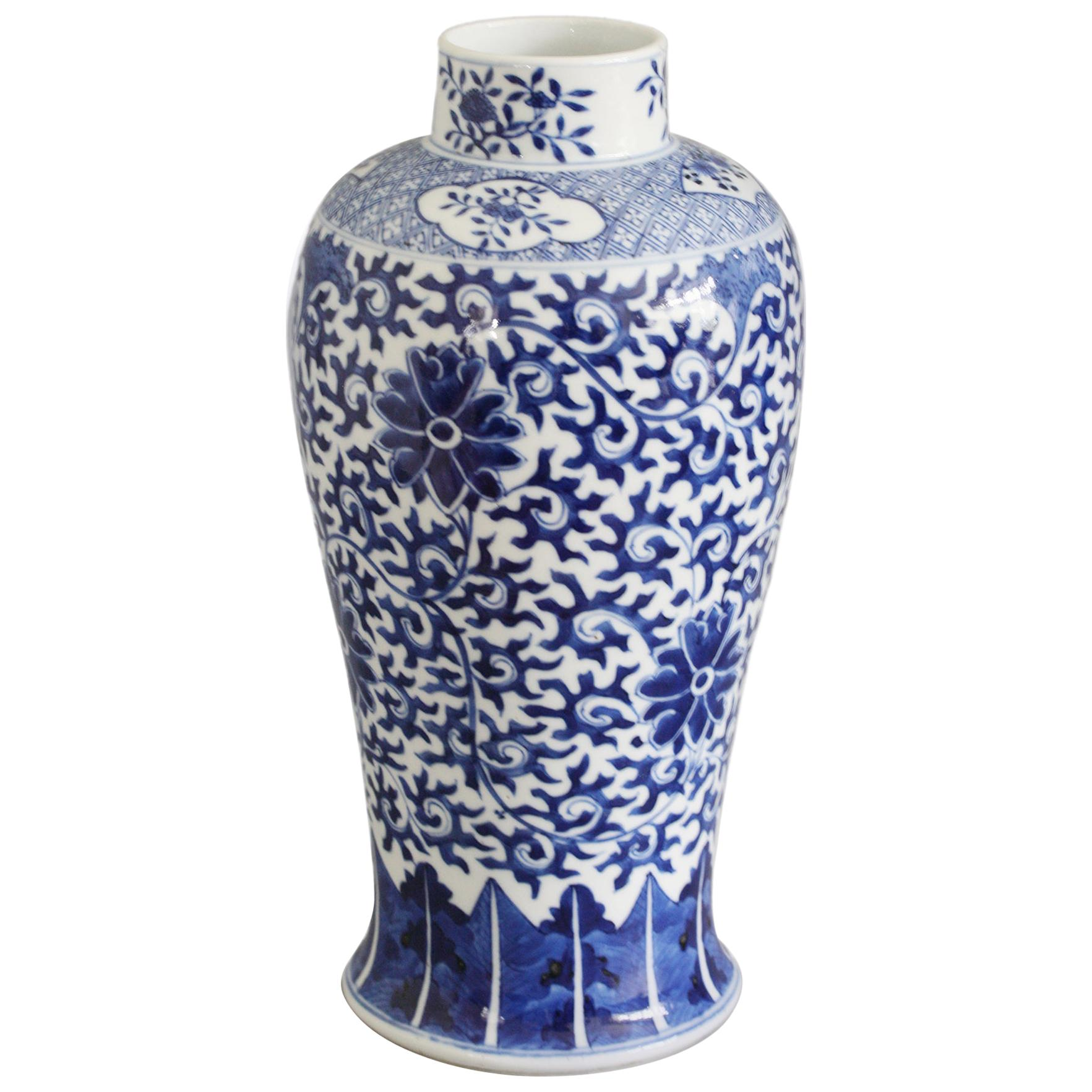 Chinese Qing Porcelain Blue and White Floral Vase