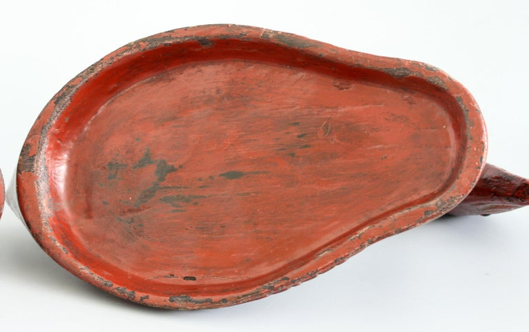 Chinese Qing Red Lacquered Duck Shaped Wooden Box 6