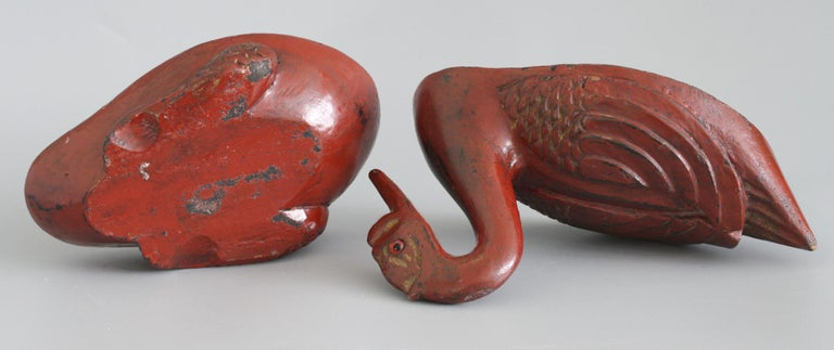 Chinese Qing Red Lacquered Duck Shaped Wooden Box 7