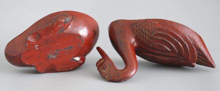 Chinese Qing Red Lacquered Duck Shaped Wooden Box 8