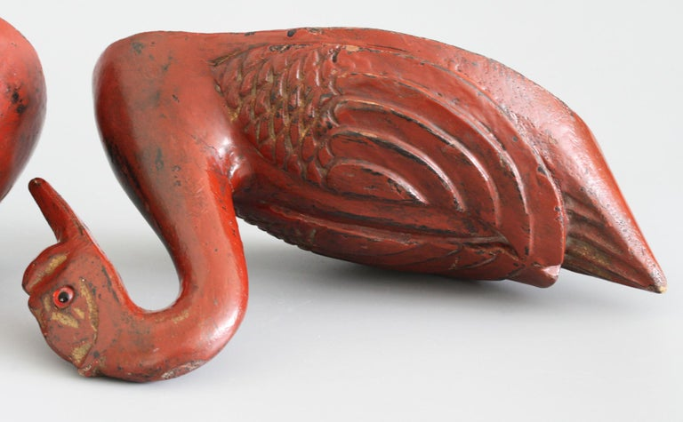 Chinese Qing Red Lacquered Duck Shaped Wooden Box 9