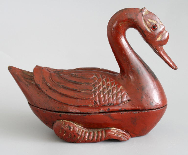 Chinese Qing Red Lacquered Duck Shaped Wooden Box 1