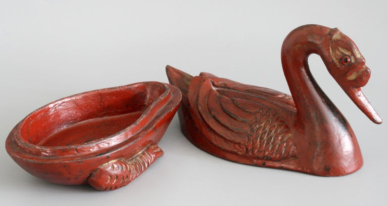 Chinese Qing Red Lacquered Duck Shaped Wooden Box 4