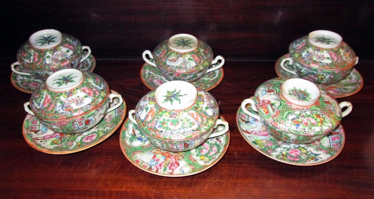 19th Century Chinese Qing Rose Medallion Porcelain Lidded Soup Rice Bowls with Saucers Set For Sale